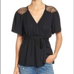 Wrap Top with Lace Detail